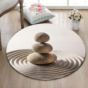 Pebble Beach Leisure Floor Round Non-slip Bathroom Mat Rug Yoga Home Room Carpet