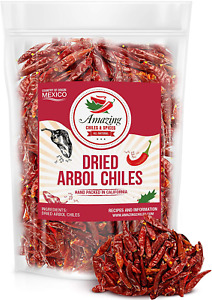 Chile De Arbol 5oz - Dried Whole Red Chili Peppers, Premium All Natural Stemless