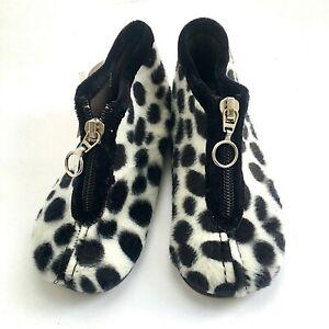 Cienta girls slippers spotted faux fur w zipper