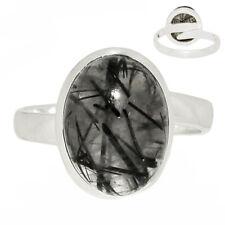Sutable Ring - Black Tourmaline In Quartz 925 Silver Ring Jewelry s.9 sAR200086