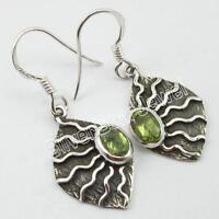 ".925 Sterling Silver PERIDOT French Hook Earrings 1 3/8"" ! August Birthstone"