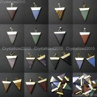 Natural Gemstones Triangle Pointed Sliced Reiki Chakra Healing Pendant Beads