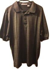 NICKLAUS Mens Shirt Size L Golf Polo Olive Geometrical Large Sharp EUC