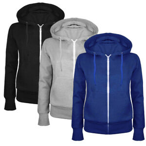 Ladies Fleece Hoodie Zip Up Plain Top Casual Hooded Gym Sport Yoga Sweatshirt