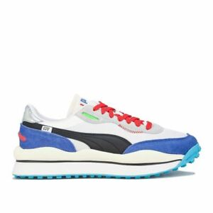 Men's Puma Style Ride On Lace up Casual Trainers in White