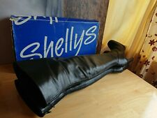 Shellys of London Vintage Thigh High Black Leather Boots UK 5 EU 38