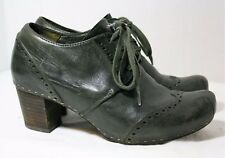 VIALIS HAND MADE SHOES GUADALUPE DK GREEN OXFORD PUMP LACE UP BOOTIES 37 BROGUES