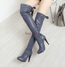 Sexy Womens Pointed Toe High Stiletto Heel Leather Overknee Thigh Boots Clubwear