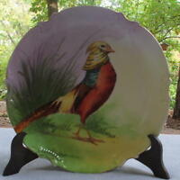 Limoges Coronet France Hand Painted Game Plate Golden Pheasant Signed Coudert