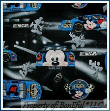 BonEful Fabric FQ Cotton VTG DISNEY Mickey Mouse Boy NASCAR Race Car Daytona 500
