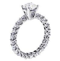 2.60 CT Brilliant Cut Diamond Engagement Ring in 14k WG U-Prong Eternity Setting