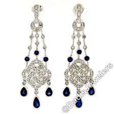 14K White Gold 2.44ctw Sapphire & Diamond Milgrain Chandelier Tassel Earrings