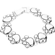 Dog Paw Fashionable Chain Bracelet - Magnetic Clasp - Silver Plated