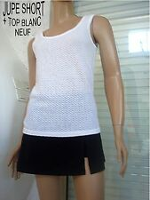 ENSEMBLEJUPE SHORT  NOIR + TEE SHIRT BLANC T 36/38 NEUF