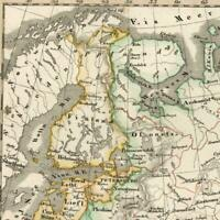 Russia in Europe Kasan Astracan old map 1834 Stieler scarce hand color