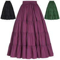 Ladies New Long Tiered Cotton Maxi Skirt Solid Color Wide Hem Free Size Elastic