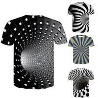 Männer Frauen Kurzarm T-Shirt Tops 3D Swirl Print Optische Täuschung T-Shirt.