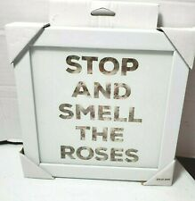 """Framed Wall Art """"Stop And Smell The Roses"""" - White/Pink - 7"""" x 7"""" - Opalhouse"""