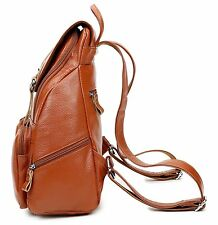 Coolcy Casual Women Real Genuine Leather Backpack New Vintage Style Travel Bag (