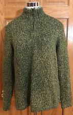 WOOLRICH 1/4 Zip Olive Green Ramie/ Acrylic Lambs Wool Sweater Size L XL