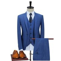 Blue Men 3 Piece Suit Peak Lapel Formal Tuxedo Wedding Suit Party Prom Suit