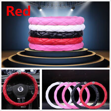 38cm Red PU Leather+Rhinestone Crystal Diamond Crown Autos Steering Wheel Cover