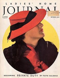 1935 Ladies Home Journal October - Faith Baldwin; Beatrice Lillie; Against death