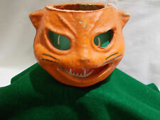 ☆~ Antique Paper Mache Halloween ORANGE Cat Head LANTERN #2 ~Candy Container ~☆