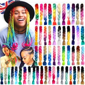 "High Quality Jumbo Braiding Hair Extensions 24"" Afro Box Braids Ombre Rainbow UK"