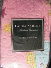 Laura Ashley Fun Fairies in Pink -  2 Quilted Standard Pillow Shams  NIP