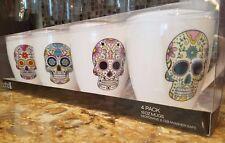 Sugar Skulls Day of the Dead Coffee Tea Mug Cup 16 Oz Multi-Color Set of 4 Soho