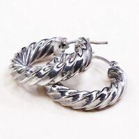 """1.25"""", Vtg Sterling Silver Hoops, Italy 925 Twisted elegant earrings, Huggie"""