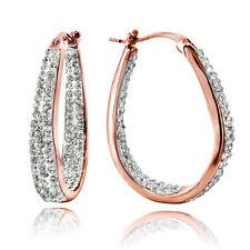 Crystal Inside-Out Oval Hoop Earrings in Rose Gold Tone Brass