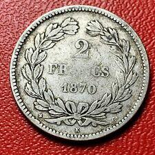 #4135 - RARE - 2 francs 1870 K Bordeaux sans légende Cérès TB+/TTB - FACTURE