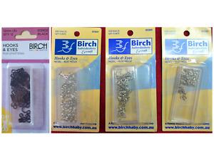 BIRCH - HOOKS & EYES - Silver or Black - choose size (7,9,11,12mm)