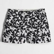 "J. CREW  3"" FLORAL JACQUARD BOARDWALK PULL ON SHORTS~BLACK & WHITE~0 /XS / SMALL"