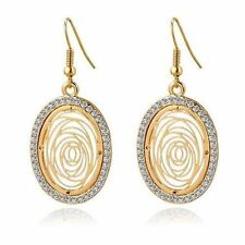Big Round Gold Silver Plated Drop Earrings Women Wedding Crystal Earrings
