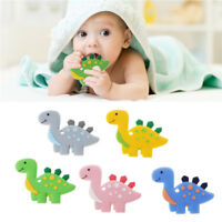Silicone Teething Toy Baby Teether Beads DIY Chew Necklace Dinosaur Pendant ~
