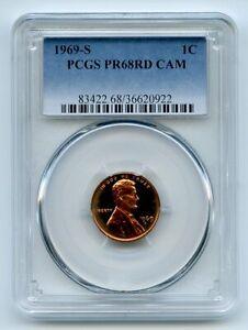 1969 S 1C Lincoln Cent PCGS PR68CAM