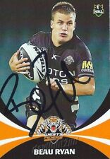 ✺Signed✺ 2011 WESTS TIGERS NRL Card BEAU RYAN Daily Telegraph