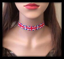 Union Jack British Flag Choker Necklace Headband Metal Chain Punk Goth Fabric