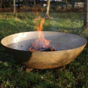 80cm Mild Steel Fire Pit - Burner Bowl Garden Heater Camping Rust Bonfire Home
