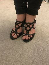 Women's Size 7 Strappy High Heels Black Shoes