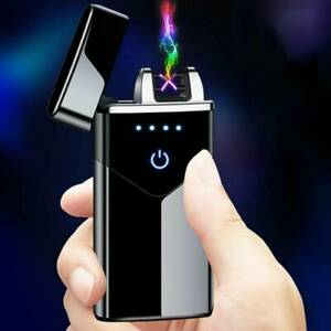 Electric Plasma Rechargeable Flameless Arc Lighter USB Double Touch Sensor UK