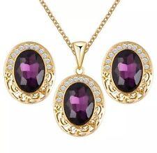 Women Jewellery Set Gold Plated Long Chain Necklace Earrings Set