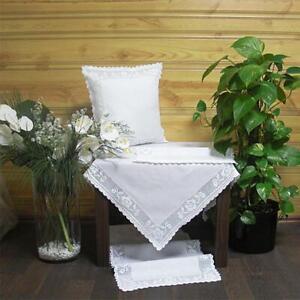 Hossner Ampfing Tischdecke Deckchen Tischläufer Baumwolle Weiß Handarbeit Spitze