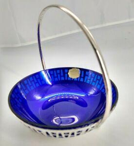 """Vintage """"Echt Mundgeblasen""""  - 3 footed silver bowl with blue Kristal insert"""