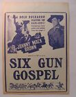 movie broadside 1943 JOHNNY MACK BROWN in SIX GUN GOSPEL