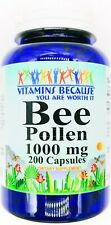200 Capsules 1000mg Bee Pollen Natural Dietary Supplement