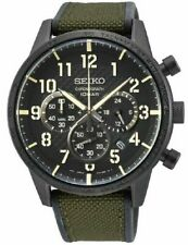 Seiko gents military style green canvas chronograph watch SSB369P1 RRP £240